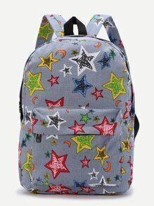 mochila casual con estampado de estrella - azul claro