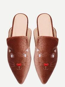 Chanclas punto de terciopelo con bordado de gato - marrón