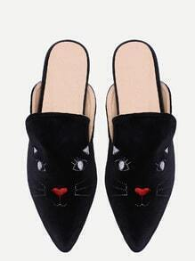 Black Cat Embroidery Point Toe Velvet Slippers
