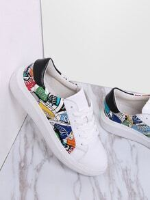 White Printed Lace Up Leather Sneakers