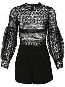 Black Lace Crochet Jumpsuit