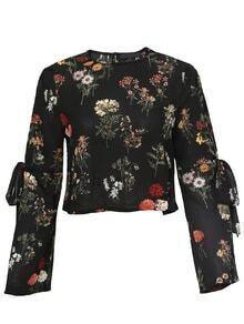 Black Floral Bow Tie Key-hole Back Blouse
