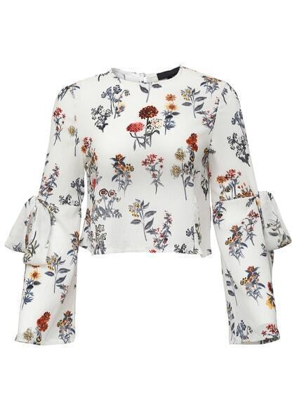 White Floral Bow Tie Key-hole Back Blouse