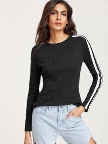 Black Striped Long Sleeve Slim Fit T-shirt