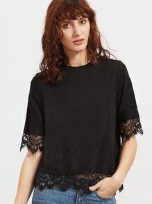 T-shirt en dentelle floral élancé à manches courts -noir