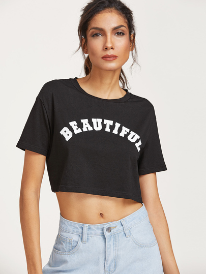 Black Letter Print Ripped Back Crop T-shirt