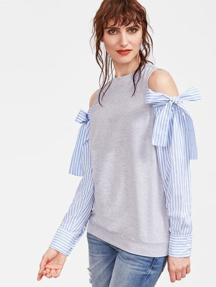 Heather Grey Cold Shoulder Striped Sleeve Sweatshirt