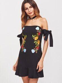 Black Off The Shoulder Tie Sleeve Ruffle Hem Embroidered Applique Dress