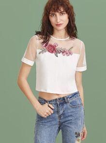 Weiß gesticktes Blumenapplique-Ineinander greifen-Schulter-Ernte-T-Shirt