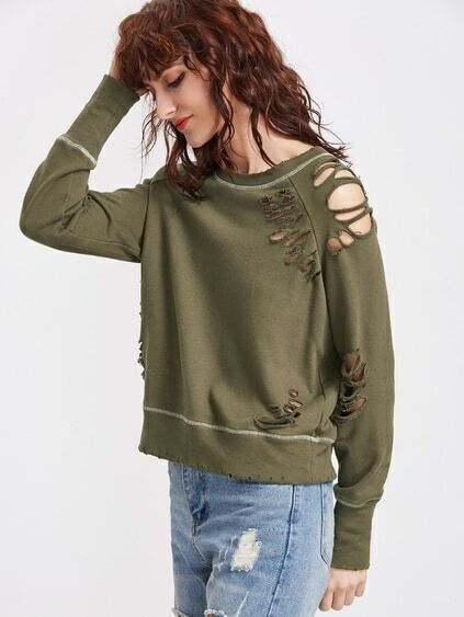Olive Green Topstitch Detail Raglan Sleeve Distressed Sweatshirt
