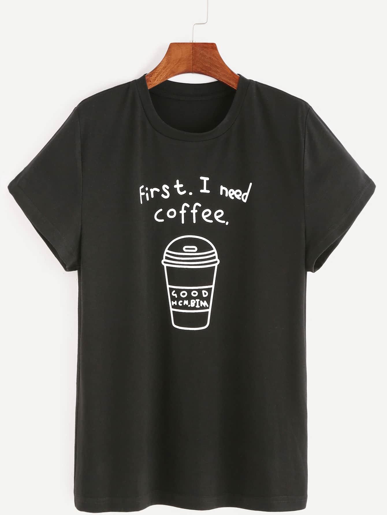Black Coffee Print Short Sleeve T Shirt