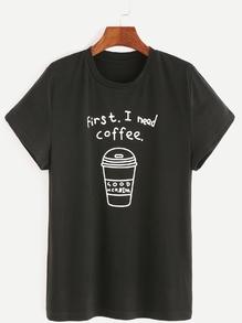 Camiseta con estampado de café - negro
