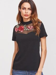 Black Embroidered Rose Applique Mesh Neck T-shirt