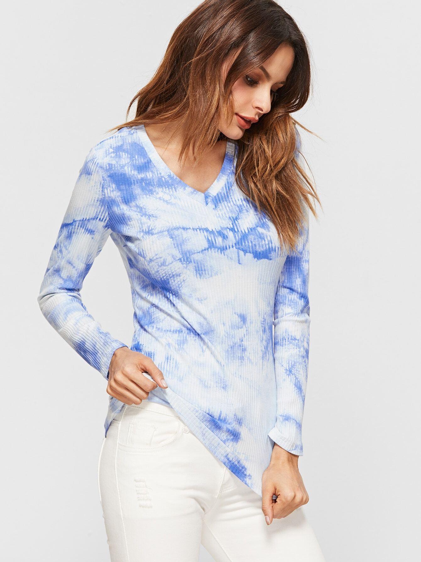 Blue Tie Dye Print Ribbed Knit Slim Fit T-shirt
