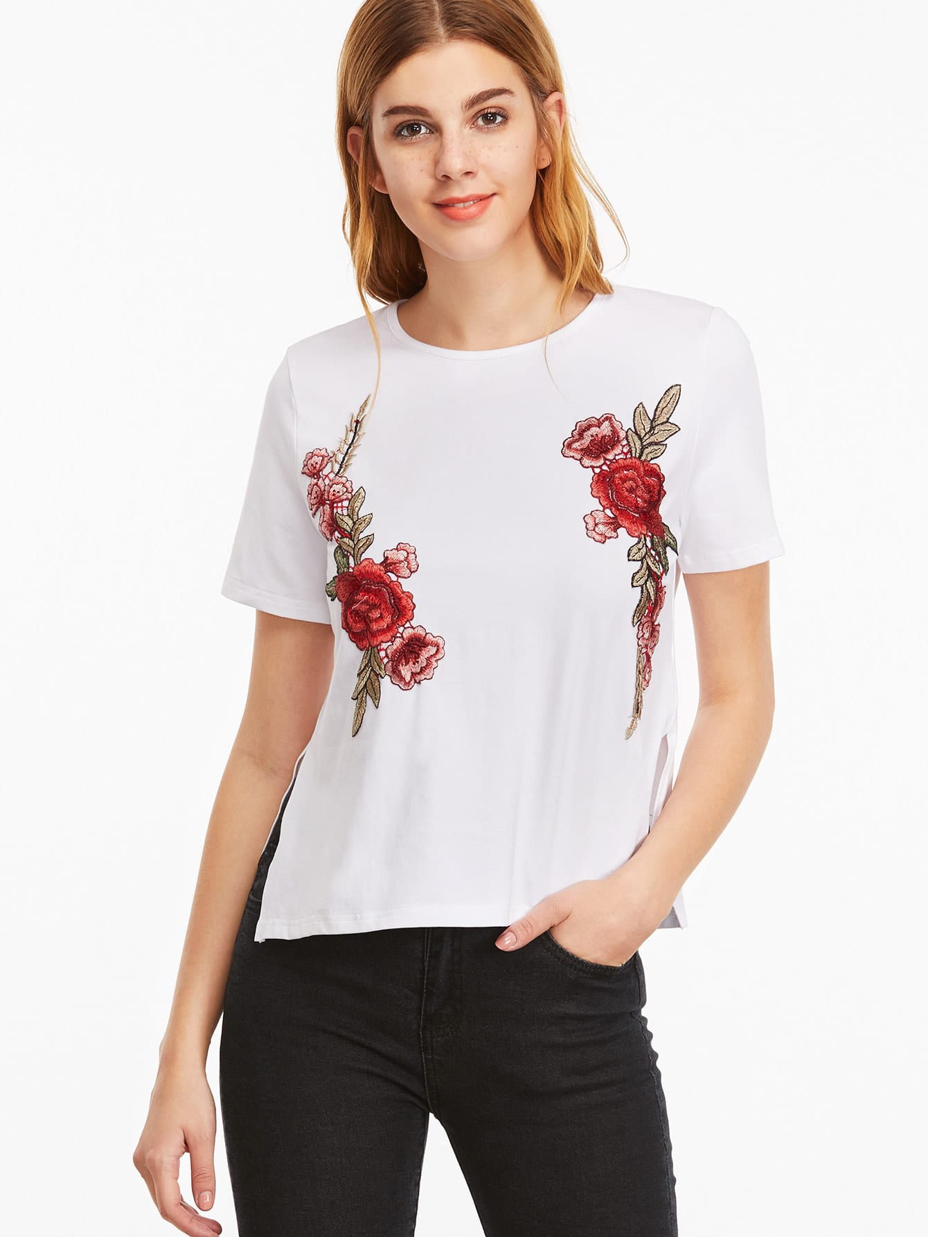 Embroidered Side Slit T-shirt tee161207706