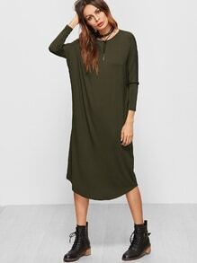 Robe manche dolman ourlet courbé -vert olive