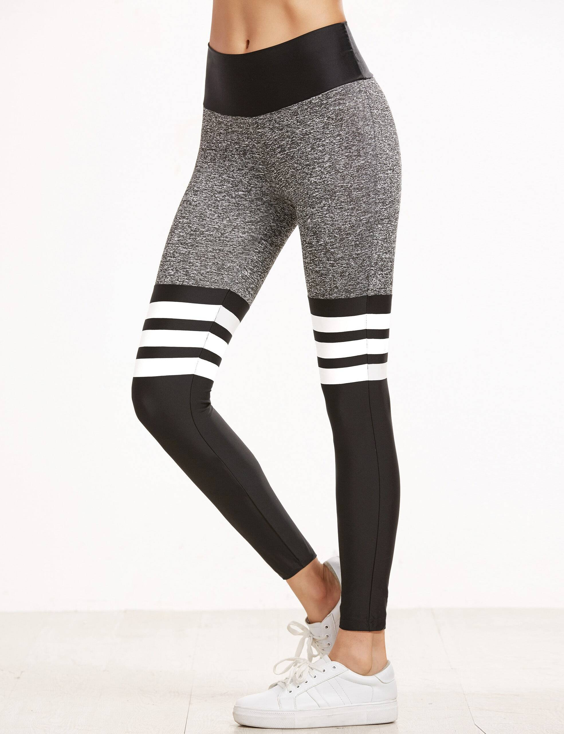color block striped elastic waist sport leggingsfor women romwe. Black Bedroom Furniture Sets. Home Design Ideas