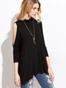 T-shirt asymétrique épaules nues - noir