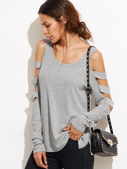 Heather Grey Cold Shoulder Ladder Cutout Sleeve T-shirt