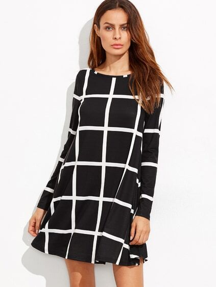 Black Grid Long Sleeve Swing Dress
