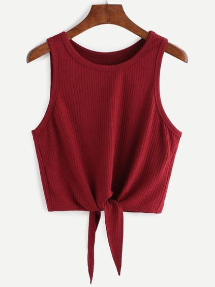 Burgundy Tie Front Ribbed Crop Tank Top