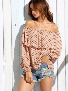 Pink Polka Dot Ruffle Off The Shoulder Blouse
