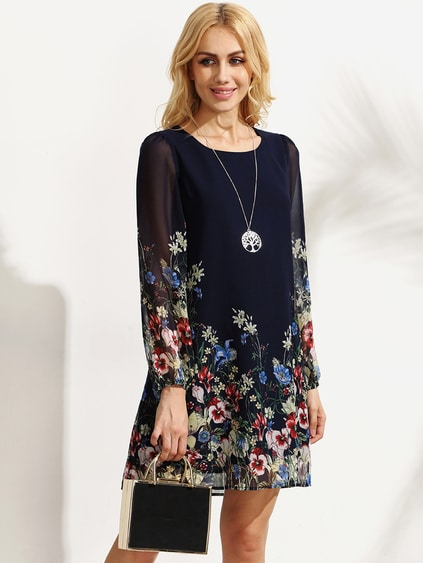 Multicolor Floral Print Long Sleeve Chiffon Dress