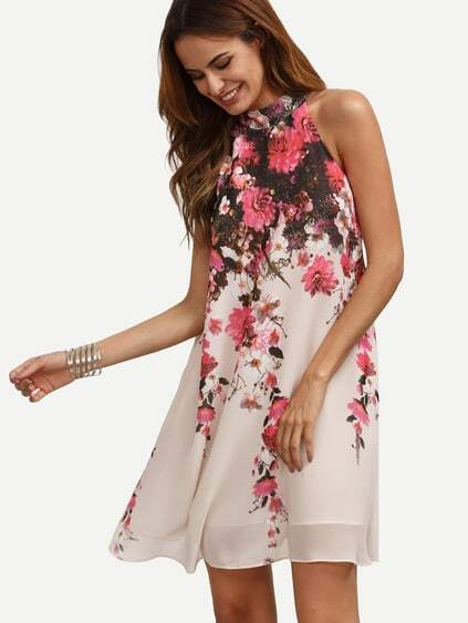 Multicolor Floral Cutout Sleeveless Shift Dress