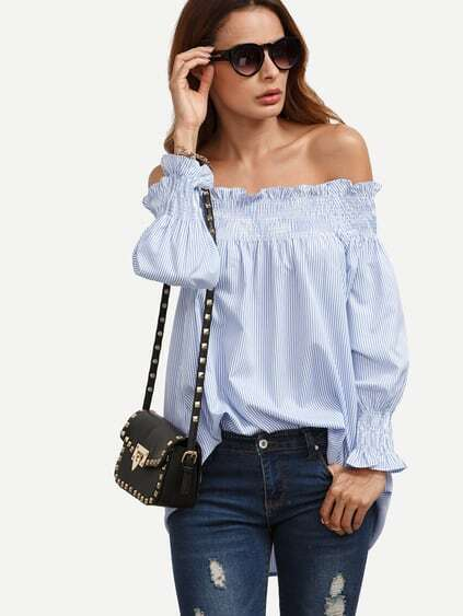 Blue Striped Off The Shoulder Smock Blouse