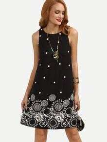Black Polka Dot Print Sleeveless Shift Dress