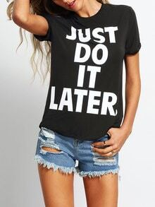 Black Crew Neck Letter Print Casual T-shirt