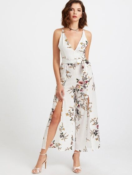 Floral Print Deep V Neck Self Tie Split Jumpsuit