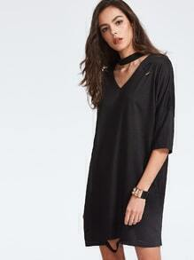 Black Choker Neck Ripped Drop Shoulder T-shirt Dress