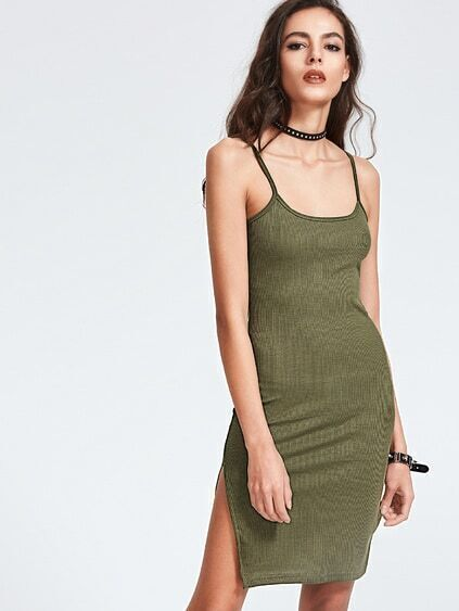 Army Green Split Side Cami Dress