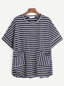 Navy Striped Curved Hem T-shirt With Pockets