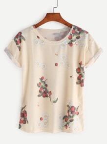Camiseta con estampado de flor
