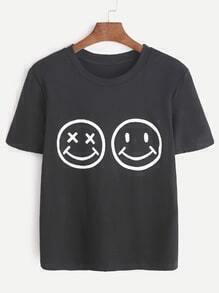 Camiseta con estampado de emoji - negro