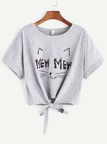 chemise courte nouée à l'avant - gris