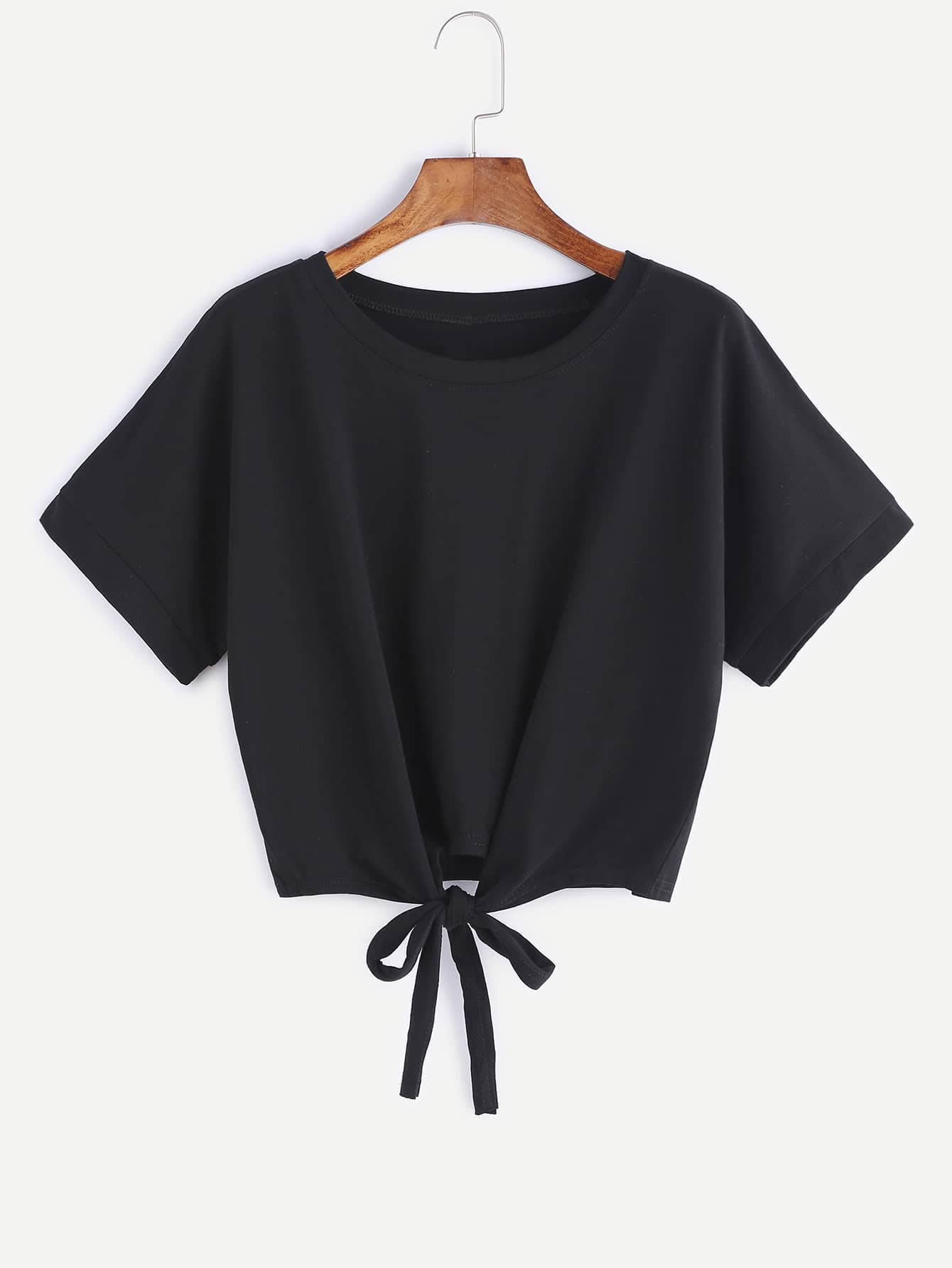 Black Tie Front Crop T-shirt