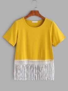 sous chemise à franges et dentelles - jaune