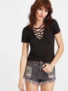 Black Criss Cross Deep V Neck T-shirt
