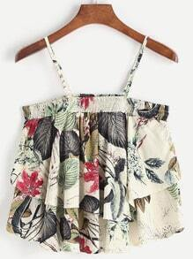 Tropical Print Ruffle Tiered Cami Top