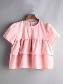 Pink Ruffle Tiered Buttoned Keyhole Top