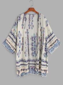 Multicolor Print Tassel Trim Kimono