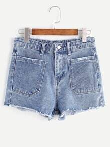 Shorts desflecados en denim - azul