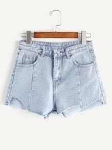 Pale Blue Asymmetrical Denim Shorts