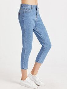 Blue Bleach Wash Cropped Jeans