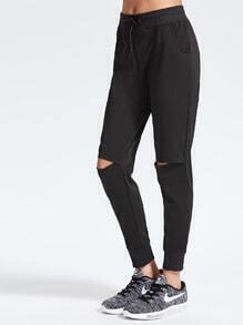 Black Drawstring Waist Cut Out Pants