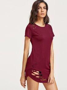 Burgund zerrissenes Detail gebogenes Hem T-Shirt