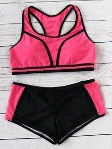 Set bikini racer back - color block